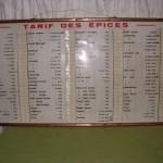 Tarif des épices